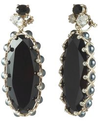 Carolee Gold-tone Crystal & Stone Clip-on Drop Earrings - Metallic