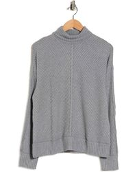 Heather by Bordeaux Mixed Waffle Turtleneck Sweater - Gray