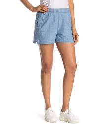 Madewell Chambray Pull On Shorts - Blue