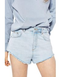 TOPSHOP Kiri Cutoff Denim Shorts - Blue
