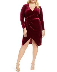 Eloquii Velvet Wrap Dress - Red