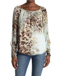 Karen Kane Leopard Print Smocked Cuff Blouse - Multicolor