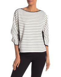Laundry by Shelli Segal - Stripe 3/4 Sleeve Lace Trim Sweater - Lyst