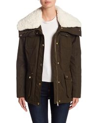 Guess - Faux Shearling Collar Parka (petite) - Lyst