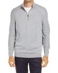 Ted Baker Lostit Slim Fit Quarter Zip Sweater - Gray