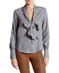 ABS By Allen Schwartz Long Sleeve Neck Tie Button Up Blouse - Gray