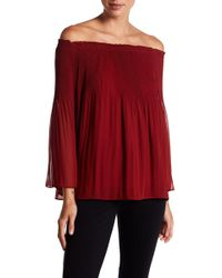 Max Studio Pleated Georgette Off-the-shoulder Blouse - Red