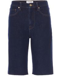 FRAME Le Vintage Raw Edge Denim Bermuda Shorts - Blue