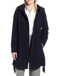 Cole Haan - Belted Boucl? Wool Blend Coat - Lyst