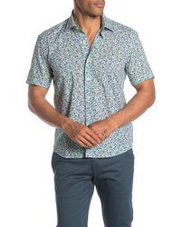 Culturata Short Sleeve Floral Print Contemporary Fit Woven Shirt - Blue