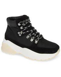 5e49a3aa8a0199 Lyst - Steve Madden Cloud Sock Wedge Sneaker in Black