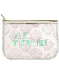 MIAMICA - 'call Me On My Shell Phone' Iridescent Clear Pouch - Lyst