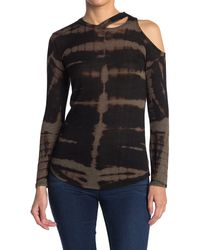 Go Couture Asymmetrical Slash Long Sleeve T-shirt - Gray