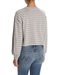 Lush Striped Balloon Sleeve Crop Sweatshirt - Gray