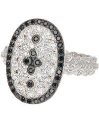 Freida Rothman - Two-tone White & Black Cz Accent Clover Ring - Size 5 - Lyst