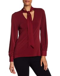 Cece by Cynthia Steffe - Tie Knit Crepe Blouse - Lyst