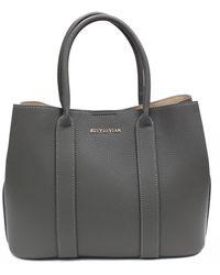 Suzy Levian Pebbled Faux Leather Satchel Handbag - Gray