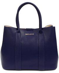 Suzy Levian Pebbled Faux Leather Satchel Handbag - Blue