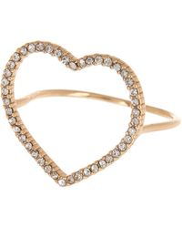 BaubleBar Rainbow Crystal Heart Cocktail Ring - Metallic