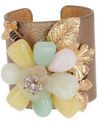 Carolee Stone Flower Leather Cuff Bracelet - Metallic