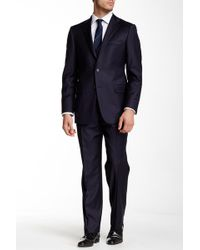Hickey Freeman - Classic Fit Navy Two Button Notch Lapel Wool Suit - Lyst