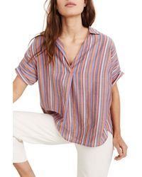 Madewell Courier Rainbow Stripe Button Back Shirt (regular & Plus Size) - Multicolour