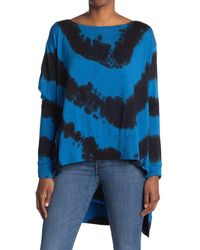 Go Couture High/low Boatneck Tunic Top - Blue