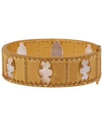 Freida Rothman - 14k Gold Plated Sterling Silver Mother Of Pearl Eyelet Cuff Bracelet - Lyst