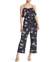 Sugarlips Sleeveless Floral Flounce Overlay Jumpsuit - Blue