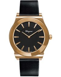 Ferragamo Men's Ferragamo 1898 Slim Leather Strap Watch, 41mm - Metallic