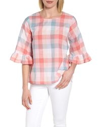 Bobeau - Pastel Plaid Ruffle Sleeve Cotton Top - Lyst