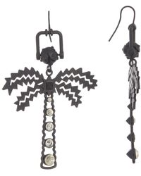 Valentino Embellished Palm Tree Drop Earrings - Metallic