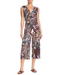 Spense Tropical Print Sleeveless Crop Jumpsuit - Multicolour