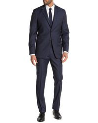 Theory Xylo Nested Sharkskin Two Button Notch Lapel Suit - Blue