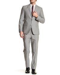 JB Britches - Grey Wool Two Button Notch Lapel Standard Fit Suit - Lyst