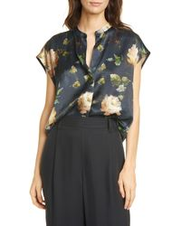 Vince Painted Rose Silk Split Neck Top - Multicolor