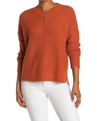 Sweet Romeo Seam Front Waffle Pullover Sweater - Orange