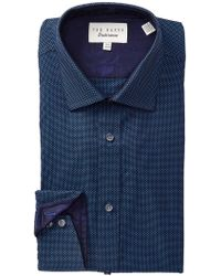 Ted Baker - Textured Tonal Solid Trim Fit Dress Shirt - Lyst