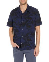Vince Palm Leaf Cabana Woven Slim Fit Hawaiian Shirt - Blue
