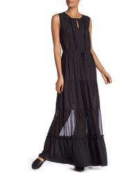Scotch & Soda - Sleeveless Flounce Maxi Dress With Necklace - Lyst