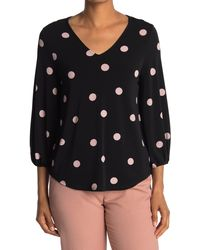 Adrianna Papell - Polka Dot Printed Blouse - Lyst