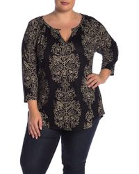 Lucky Brand - Printed Keyhole Cutout Blouse (plus Size) - Lyst