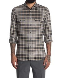 Reiss Tucci Check Printed Regular Fit Shirt - Grey