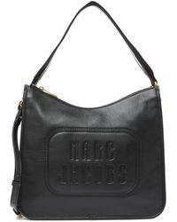 Marc Jacobs The Retro Embossed Leather Hobo Crossbody Bag - Black