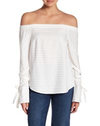 1.STATE - Tie Sleeve Stripe Off-the-shoulder Blouse - Lyst