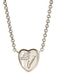 Gucci - Sterling Silver Flora Heart Necklace - Lyst
