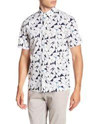 Theory - Murrary Geoline Print Short Sleeve Standard Fit Shirt - Lyst