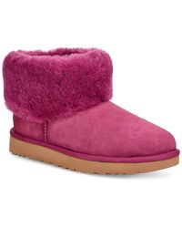 UGG Classic Mini Fluff Genuine Shearling Bootie - Purple