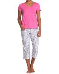 Nautica T-shirt & Printed Capri Pants 2-piece Pajama Set - Pink