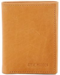 Steve Madden - Antique Leather Tri-fold Wallet - Lyst